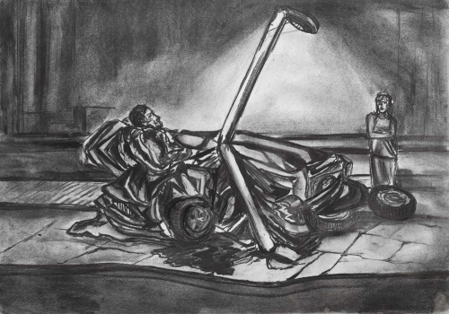"""Self Drive"" Charcoal on Paper by Nicholas Peall"