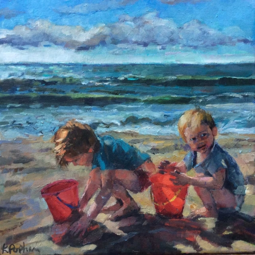 """Boys with Red Buckets"" Oil on Canvas by Karen Popham"