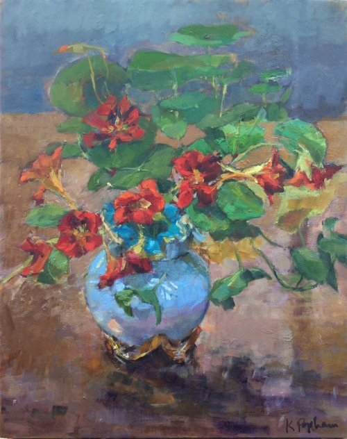"""Nasturtiums in a Victorian Vase"" Oil on Canvas by Karen Popham"