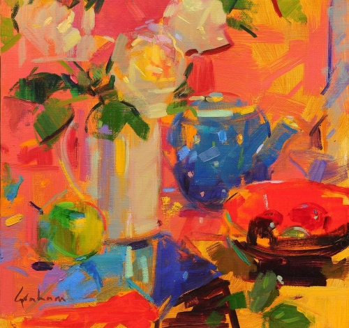 'Rose Reflections' oil painting by Peter Graham ROI