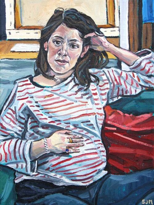 """Elizabeth Waiting"" Oil on Linen by Sarah Jane Moon"