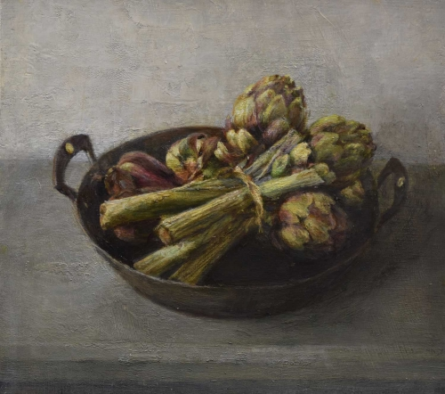 'Artichokes' oil painting by Sarah Spencer NEAC