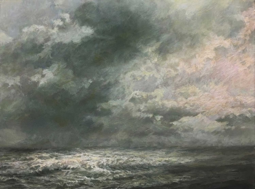 'Sea Sky and Moonlight' oil painting by Sarah Spencer NEAC