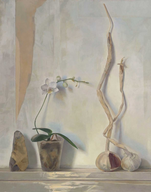 'Orchid, Flint, Garlic Stems' oil painting by Susan Angharad Williams