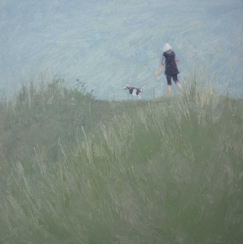 'Walking the Dog' oil painting by Delia Tournay-Godfrey