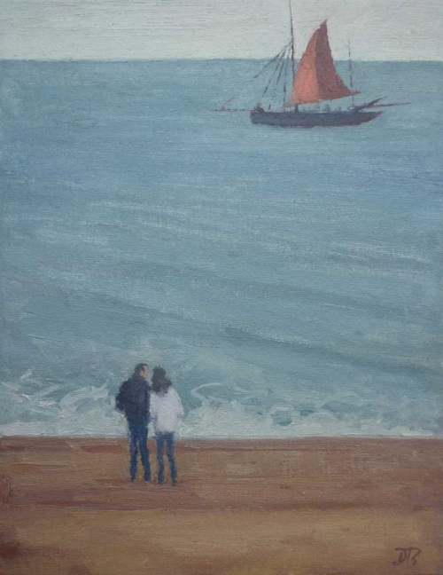 """Watching the Barge sail by"" Oil on Muslin Board by Delia Tournay-Godfrey"