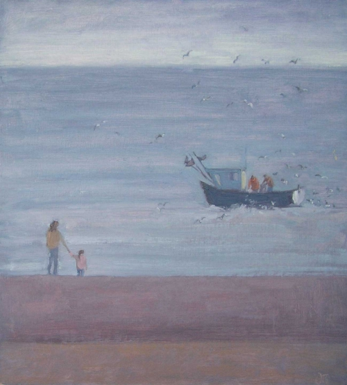 """Watching the Fisherman"" Oil on Board by Delia Tournay-Godfrey"