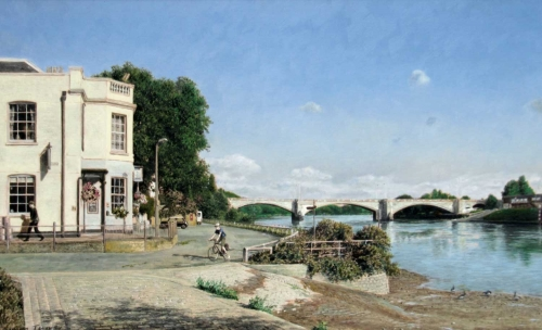 """Chiswick Bridge"" Oil on Board by Simon Turvey"