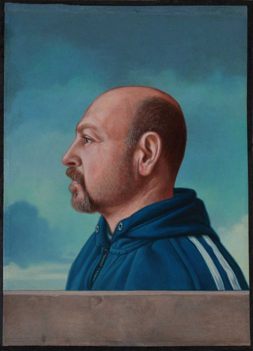 'Self Portrait with Lonsdale Sweatshirt' oil painting by Marco Ventura