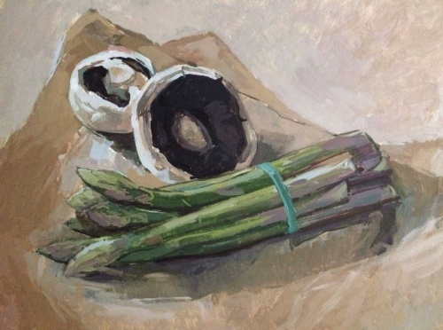 'Mushrooms & Asparagus' by Adele Wagstaff