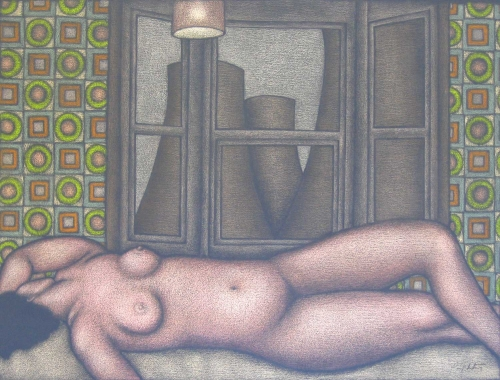 """Figure by a Bay Window"" Coloured Pencil on Pastel Paper by Patsy Whiting"