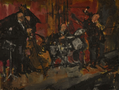 """Jazz Band"" Oil on Board by Anthony Yates"