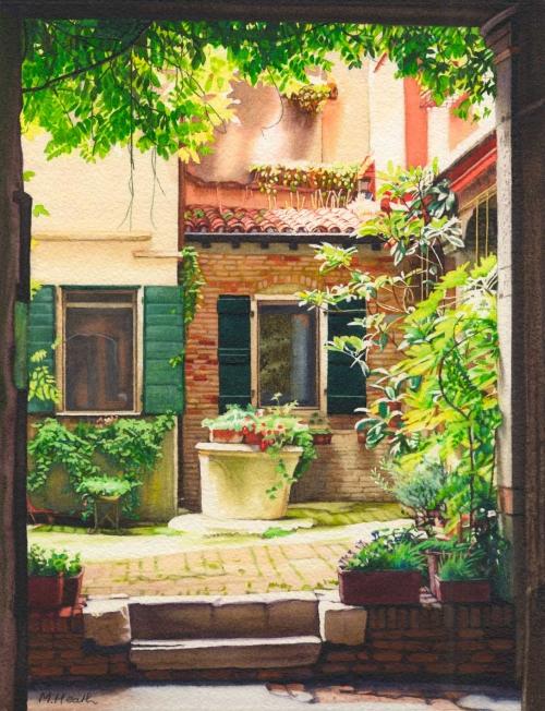 'Venetian Courtyard' watercolour painting by Margaret Heath