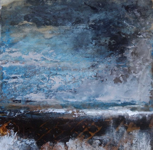 'Reflect' mixed media on board by Tracey Ross