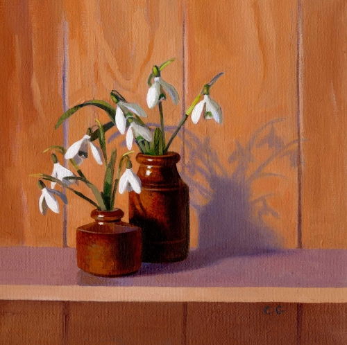 'Snowdrops with Shadow' oil painting by Carole Griffin