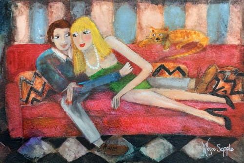 Cuddling up on the Sofa by Rosa Sepple PRI