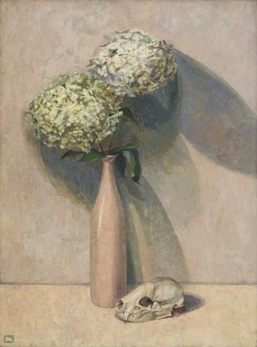 Hydrangeas and Badger Skull by Charlotte Sorapure