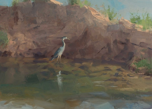 Heron Fishing in the River by Frances Bell