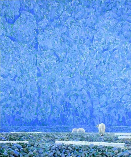 'Blue Ice, Bears and Driftwood' acrylic painting by Darren Rees