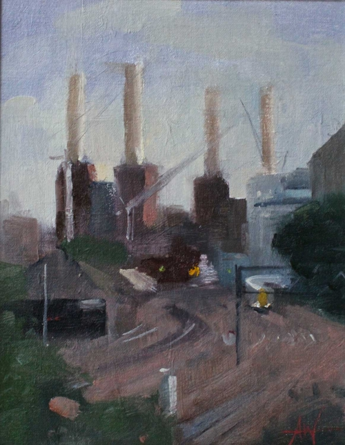 'Battersea Power Station from Victoria' oil painting by Archie Wardlaw