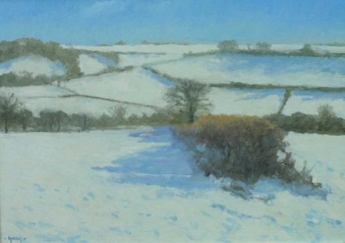 'Snow near Cerne Abbas' oil painting by Julian Halsby
