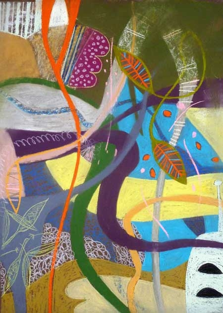 'Crisp Weather' abstract pastel drawing by Jenny Westbrook