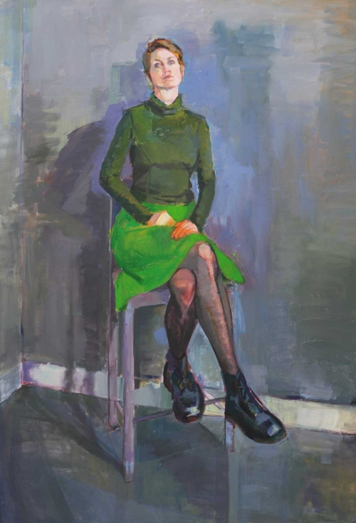 'The Emerald Skirt' oil painting by Eve Pettitt