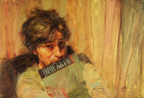 'Self Portrait with Irish Arts' oil painting by Kenny McKendry