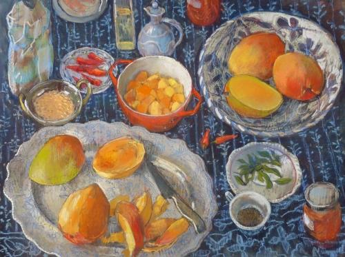 'Making Mango Chutney' pastel work by Felicity House