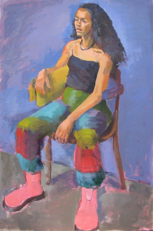 'The Pink Boots' oil painting by Eve Pettitt
