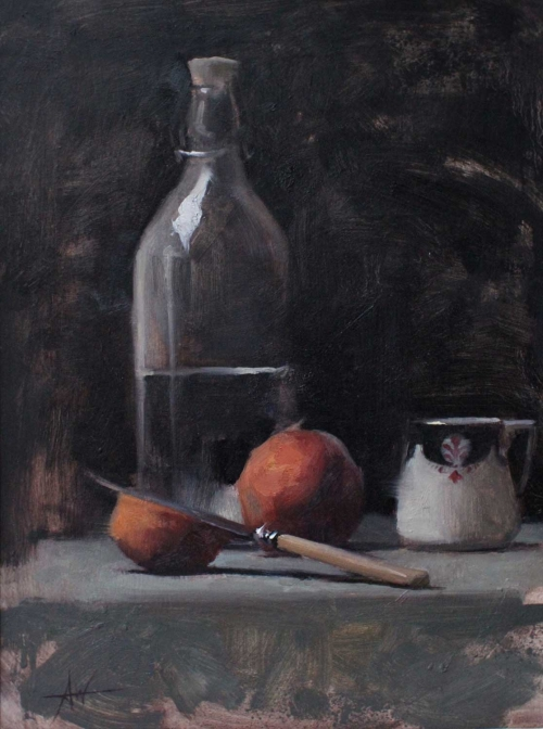 'Peaches' oil painting by Archie Wardlaw