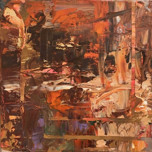 'Shifting Ground' abstract oil painting by Peggy Cozzi