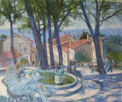 'Sunday Papers by the Fountain' pastel work by Felicity House