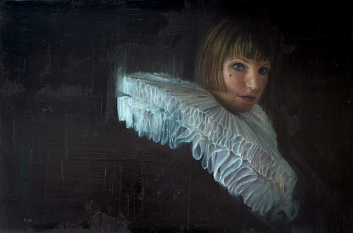 'Pleating Time' oil painting by Sophie Ploeg