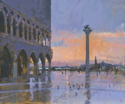 'Blood orange sky, Sunset, Venice' oil painting by David Sawyer