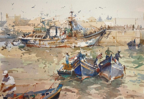 Essaouira Loading The Catch by Geoffrey Wynne