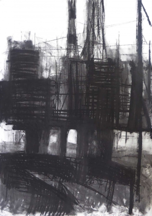 """Brent Delta in Hartlepool"" Charcoal on Paper by Rebecca Hathaway"