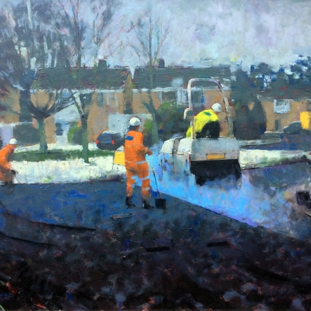 Steamroller in the Snow by James Bland NEAC