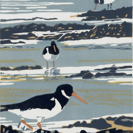 """Resting with Oystercatchers"" Linocut Print by Max Angus"
