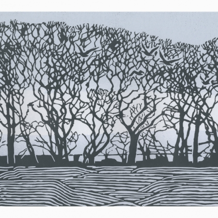 """""""Stiffkey Trees"""" Linocut by Max Angus"""