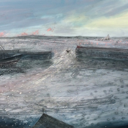 """Early Morning Newlyn Harbour"" Oil on Aluminium by Jack Davis"