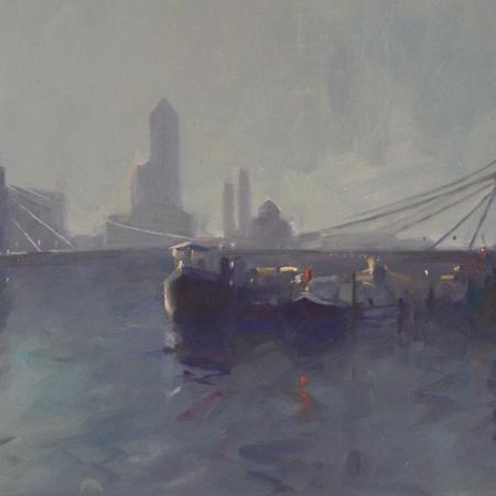 """""""Albert Bridge"""" Oil on Board by Frances Bell"""