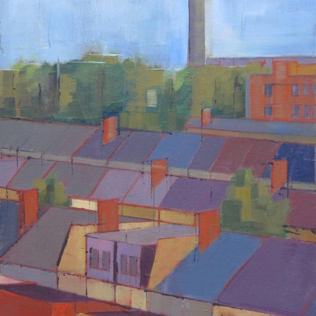 """Rooftops IV"" Oil on Canvas by Eve Pettitt"