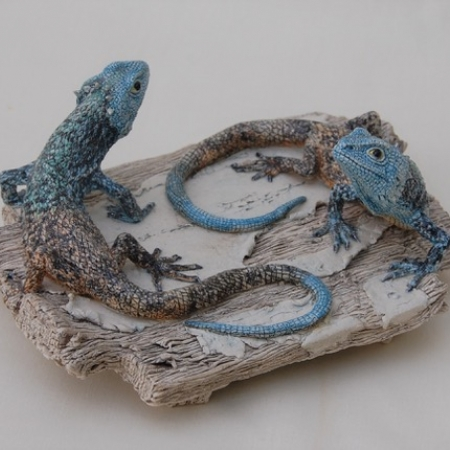 """Two blue-headed agamas"" stoneware ceramic by Jill Moger"