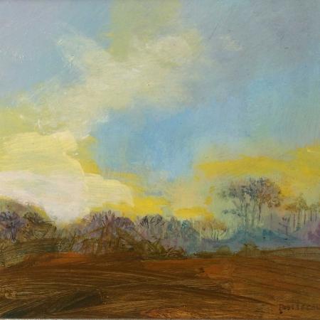 """Little Copse, Yellow Sky"" Oil on Panel by Annie Boisseau"
