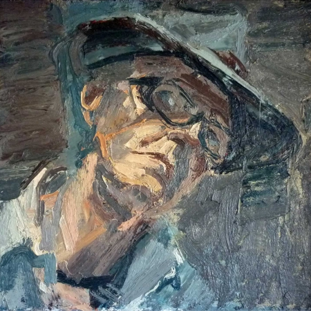 """""""The Hat"""" Oil on Board by Peter Clossick"""