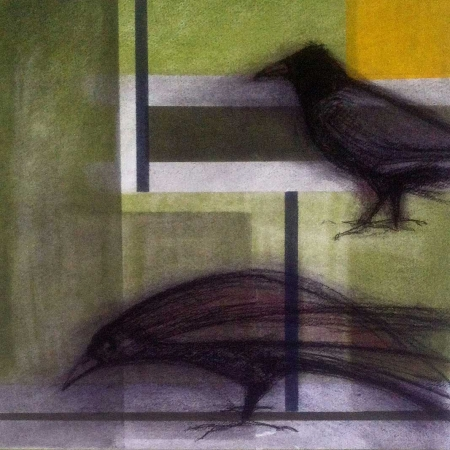 'Crows with Yellow Square' by Karen Stone