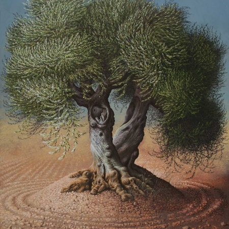 'Olive Tree III' gouache painting by Miriam Escofet