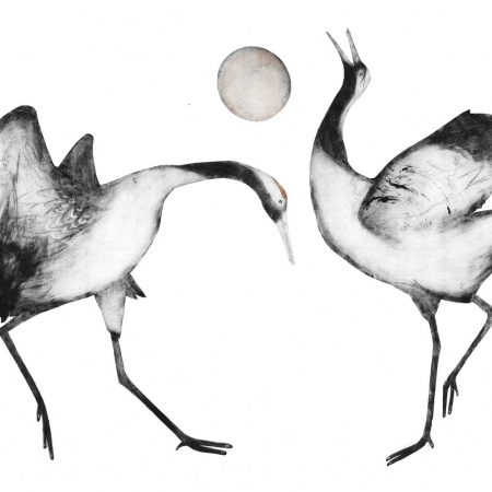 """Japanese Cranes"" Hand-painted drypoint engraving by Beatrice Forshall"