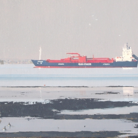 """Gas Chem Approaching Portsmouth"" Oil on Board by Martin Swan"
